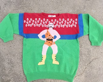 20% OFF!!  70S vintage Wrestling cotton knit sweater : avant garde ugly