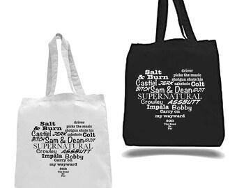 Tote Bag, Supernatural Tote Bag, Canvas Tote, Fandom Tote Bag