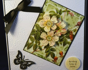 Birthday Card, Handmade Birthday Card, Birthday Greeting Card, Embossed Detail, Decoupage, Female Card,  Butterfly and Flowers