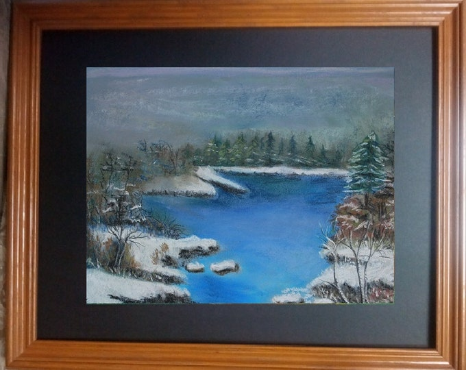 "11x14 Original Pastel Painting, Winter Landscape with Water Artwork, ""Majesty of Winter Snow"""