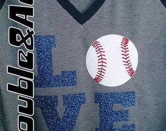 Glitter Baseball LOVE Shirt, Women's Baseball Tee, Short Sleeve Raglan V-Neck Shirt, Baseball Mom Bling Shirt, Women's and Juniors Sizes