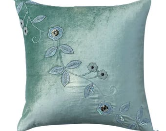 "Decorative Velvet Throw Pillow Cover, 18""x 18"" Sea Green Velvet Pillow Floral Hand Beaded with Tassel, Couch Sofa Pillow - Sea Green Fleur"