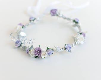 Lavender Flower Crown, Lilac Flower Crown, Purple Silver Flower Crown, Purple Flower Crown, Silver Halo Crown, Lavender Silver Flowers