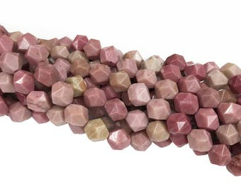 1Full Strand Pink Rhodonite Beads , Nugget Star Cut Faceted Beads,8mm 10mm Wholesale Gemstone For Jewelry Making