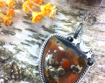 Handmade Sterlig Silver Russian Simbricite and Pyrite Pendant