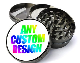 CUSTOMIZED - You add any design/picture/image/phrase Extra Large 5 Piece Spice Tobacco Herb Grinder - Makes a Great Christmas Gift