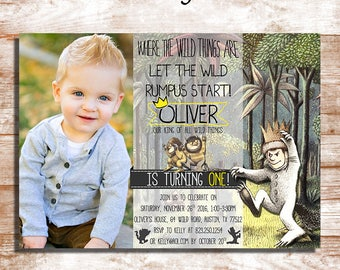 Where The Wild Things Are Birthday Party Invitation - With Photo - For Any Age - Digital And Printable File - YOU PRINT