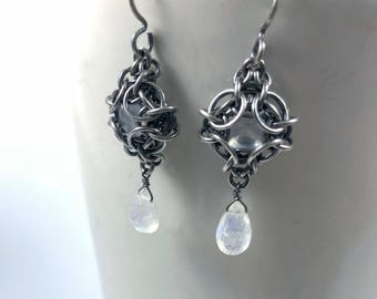 OOAK Phaedra Earrings Oxidized Sterling Silver with Luminous Moonstone Chainmaille