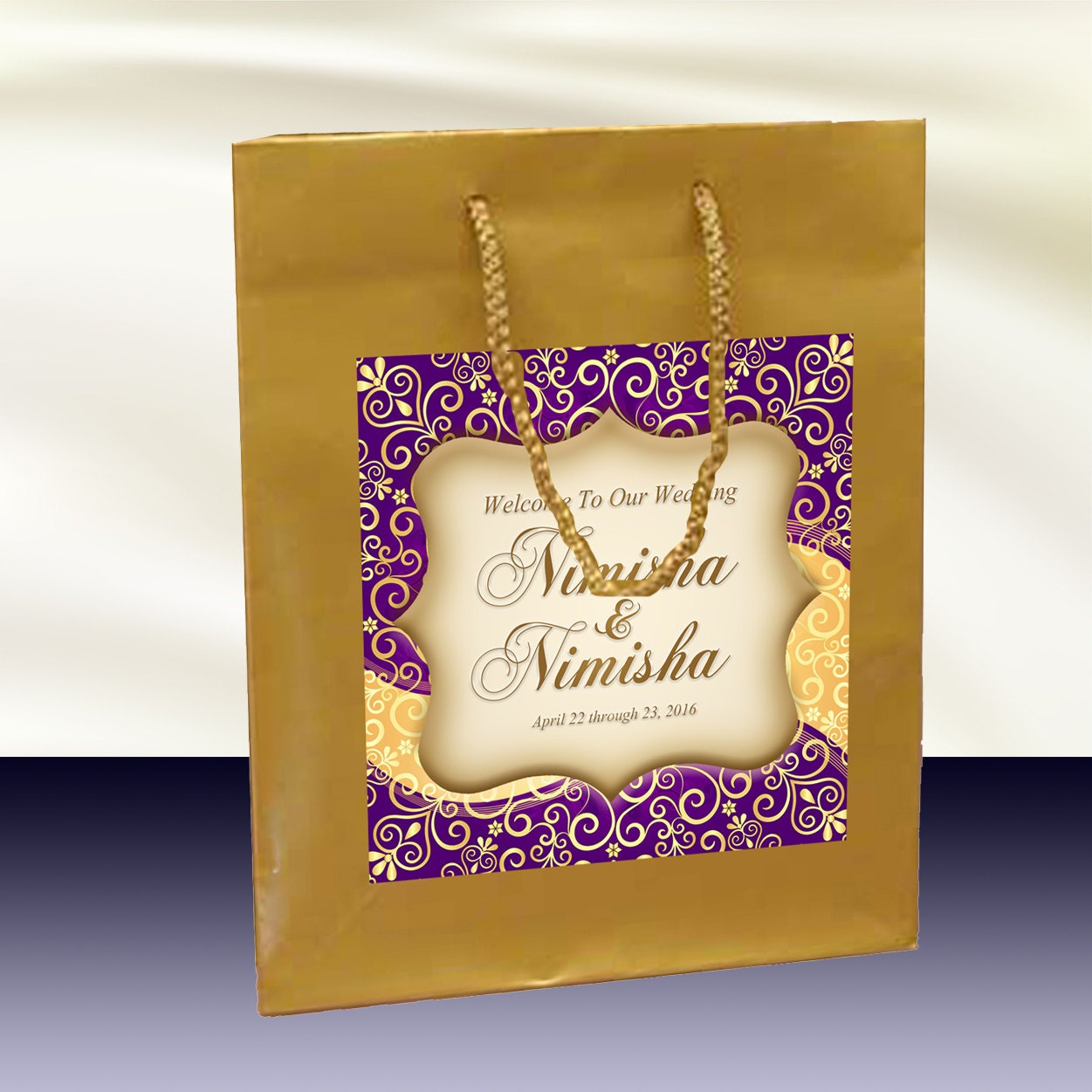 10 gold welcome bags indian hindu inspired label for hotel zoom kristyandbryce Gallery