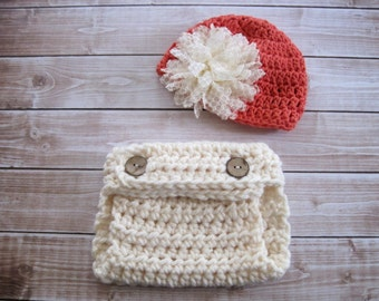 Crochet Baby Girl Diaper Cover and Hat, Crochet Baby Hat, Baby Girl Hat, Newborn Girl Hat, Infant Girl Diaper Cover, Baby Flower Hat, Orange