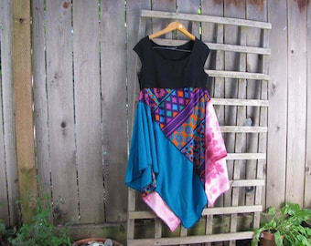 Funky Retro Lagenlook Upcycled Babydoll Dress/Aqua Pink Orange Purple Asymmetrical Eco Jersey Knit Dress/ Hi Lo Womens Dresses S/M