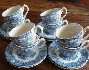 """8 kop en schotels, """"Tonquin by MYOTT, made in Staffordshire, England"""