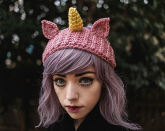 Ikkakujū - Handmade Crochet Unicorn Headband Unicorn Horn Ear Warmer