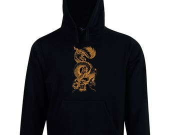 Embroidered Dragon design fleece hoodie made just for you. Embroidery personalized custom made to order.