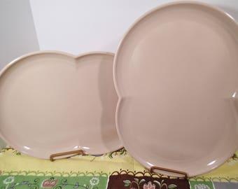 Mid Century K LaMoyne Melamine platters, Vintage Branchelle Melmac  beige serving platters -set of 2
