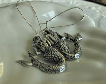 Vintage Silver Mermaid Earrings Mermaid Jewelry Nautical Beach earrings jewelry Gift for her ocean jewelry mermaid gift beach boho earrings