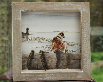 Cat on the wall - a Framed original watercolour painting
