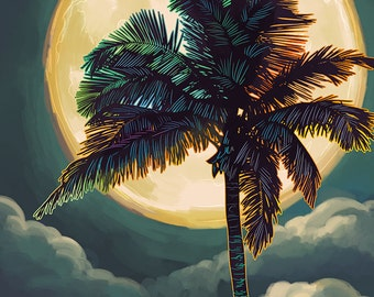 Galveston, Texas - Palm and Moon (Art Prints available in multiple sizes)