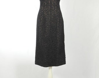 1950s Vintage black lace dress
