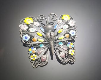 Butterfly cloisonne brooch. Silver & handmade
