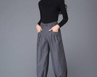 Cropped pants, wool pants, pants, skinny pants, winter pants, long pants, womens pants, handmade pants, grey trousers C999