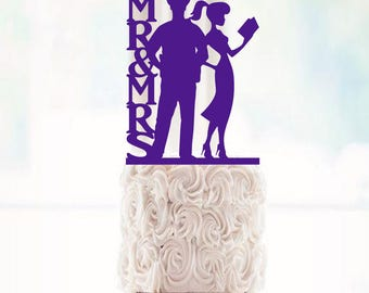 Wedding Cake Topper Mr & Mrs Police Officer and Teacher Wedding Cake Topper police Cake Topper teacher cake topper police officer cake teach