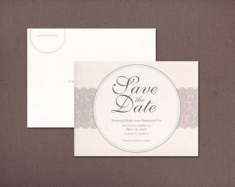 "Vintage Save the Date, Elegant Wedding Save the Date, Ivory Blush and Grey Save the Dates,  Lace Save the Date - ""Jonelle"" DEPOSIT"