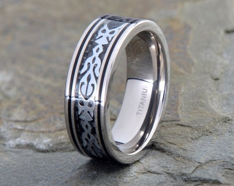 Titanium Wedding Band, Ring With Steinless Steel inlay, His, Hers,Titanium Anniversary Rings, Bands, Custom Titanium Rings