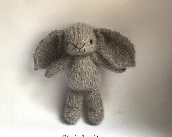 Pre Order. Knitted mohair bunny in grey brown, knitted toys, baby toy, newborn photo props toys