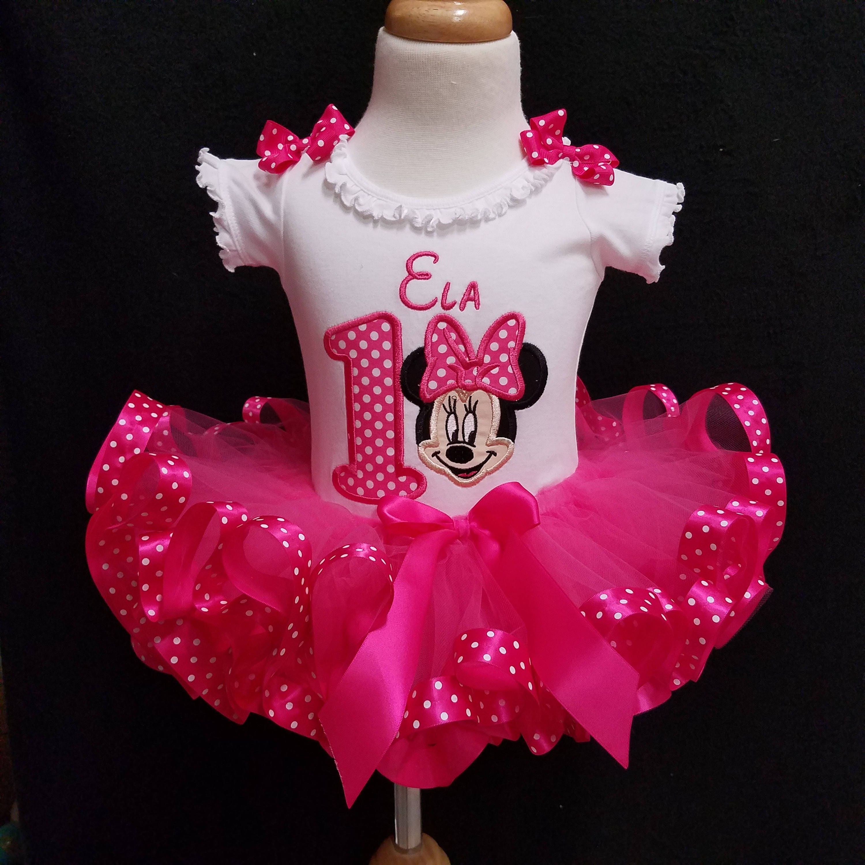 d88b9e2892f6 Minnie Mouse Birthday Outfit 1st birthday girl outfit 1st birthday outfit  Minnie Mouse tutu personalized baby tutu first birthday baby girl