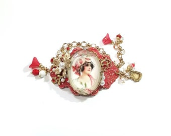 Red Vintage Lady Cameo Bracelet, Brass, flowers, czech beads, charms, gold chain