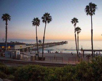 San Clemente Pier Sunset - California Pacific Ocean Beach Sea Coastal Pastel Wall Art Photography Print