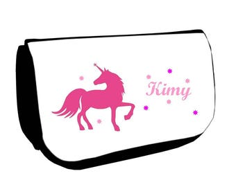 Black cosmetic case /crayons Unicorn personalized with name