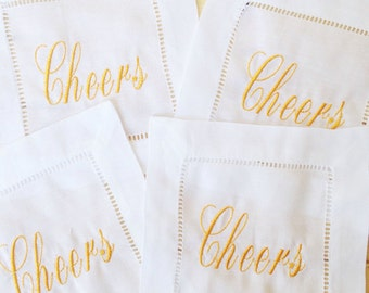 Monogram Hemstitch Cocktail Napkins with embroidered Cheers /Monogram Gift - Set of 4