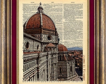 Duomo Di Firenze Florence Italy Dictionary page art Book Page art Print