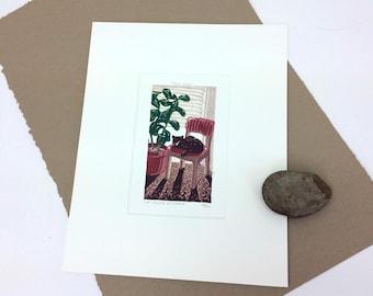SALE - Phil's Room - Cat - Interior - Chair - Succulent - Linocut Printmaking - Block Print - Wall Art - Black and White - 8x10