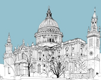 London illustration, fine art print, St Paul's Cathedral signed A3 colour giclee print