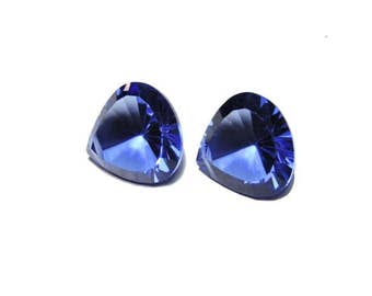 2 Pieces Beautiful Iolite Blue Quartz Concave Cut Heart Shaped Loose Gemstone Size 14X14 MM