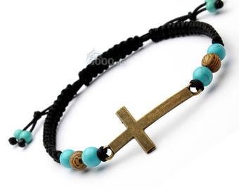 Fashion trendy man/woman BRACELET Style Shamballa beads 6 mm stone natural turquoise howlite, wood cross
