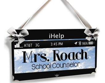 technology theme school counselor office name door sign  - P2206
