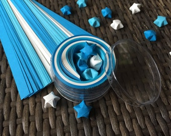 Blue and White Origami Stars Paper Strips Kraft Kit, 100 paper strips