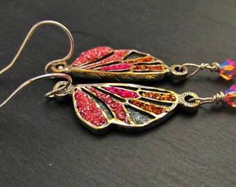 Butterfly Wing Earrings, Fairy Wing Earrings, Sterling Silver Earrings, Artisan Earrings, Sparkly Earrings, Mothers Day Gift, Gift For Her