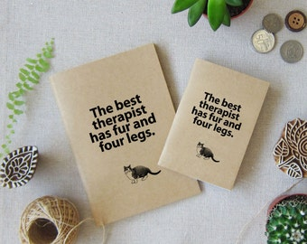 Cat Notebook 58 - Cat Lover Gift - Mini Pocket Size Journal for you Travel - The Best Therapist has fur and four legs
