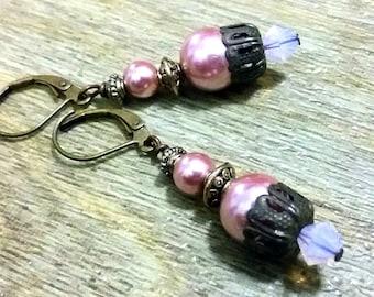 Vintage style Dangle earrings, Victorian style earrings, glass pearl earrings, pink glass pearl earrings, Antique gold earrings