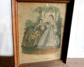 19th Century Vintage French Framed Fashion Costume Plate La Mode Illustree 1860s Paris Shabby Chic