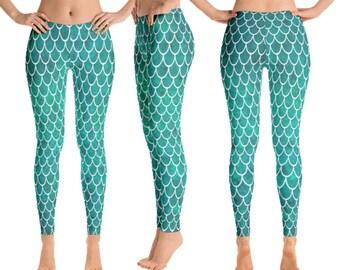Leggings, Mermaid Leggings, Mermaid, Mermaid Pants, Mermaid Costume, Mermaid Outfit, Printed Leggings, XS, S, M, L, XL