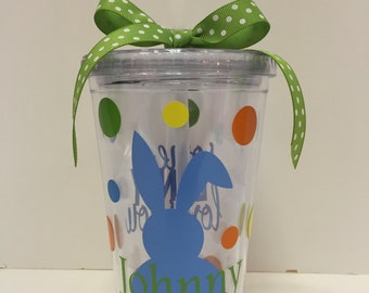 Personalized Easter Tumbler Cup- Easter Bunny Tumbler- Personalized Bunny Tumbler-Children's Personalized Tumbler-Boy's Easter Bunny Tumbler