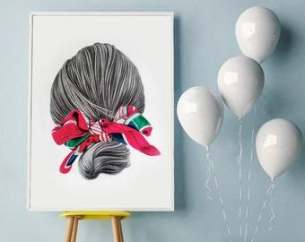 Portrait Print, Top Selling, digital print, modern art print, Minimalist wall art, abstract art, photomontage, prints, home decor, wall art