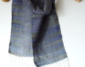 "Handwoven Twill Scarf with Bamboo and Egyptian Handpainted Cotton White Turquoise Purple  Brown Blue Olive 7"" x 62"" plus Fringe"