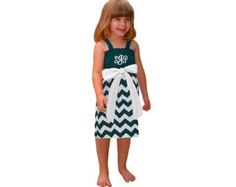 Green + White Chevron Dress- Girls